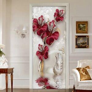 3D Red Flower Jewelry Room Mural Wallpaper Self-adhesive Door Sticker Wall Decor