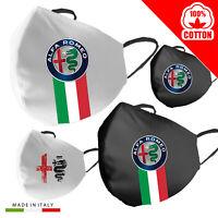 Mascherina Cotone Alfa Romeo Personalizzata 100% Made in Italy adulto bambino