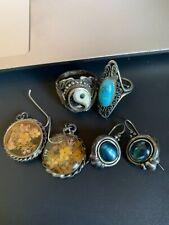 Lot Of Vtg Sterling Jewelry Rings Earrings Estate Fresh Very Clean!! NR