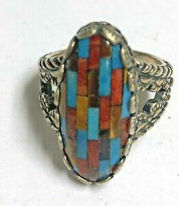CAROLYN POLLACK Sterling & Inlaid Mosiac Ring