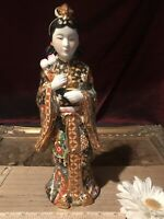 "Asian Porcelain Satsuma Geisha Figurine Statue Gold Accents 12 1/4""x4"""