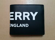 Burberry Men Logo Leather Wallet with ID Card Case