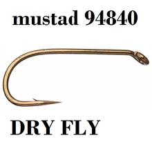 mustad 94840 dry fly hooks (r50-94840 signature series) #18 #16 #14 #10 #8 #6