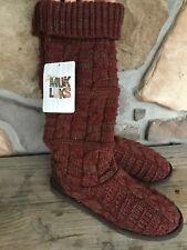 MUKLUKS NWT Shelly Chunky Cable Knit Sweater Boots Tall Knee Boot Chianti Size 6