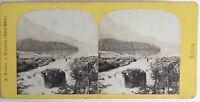 Caduta Da L Inn A Lago Di St.Maurice Suisse Foto Braun Stereo Vintage Albumina
