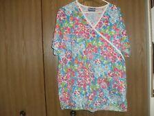 ladies size (large) scrub wear bright colors flowered short sleeve scrub top