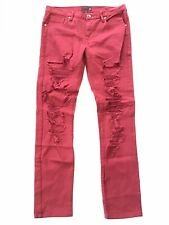 G By Guess Men's Slim Straight Jeans In Red With Heavy Destroy Wash Size 33