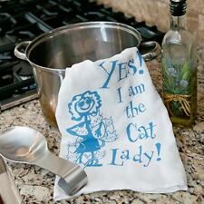 """100% Pre-washed Cotton Kitchen Towel 28"""" x 29"""" - Yes! I am the Cat Lady!"""
