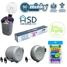 Minky Retractable Clothes Washing Line Reel Outdoor Pegs Cloth Drying Accessory