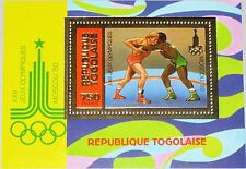 Togo 1981 blocco 157 a Summer Olympics 1980 Moscow Wrestling anelli SPORT MNH