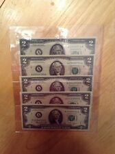 1976 FIVE $2 US Bills with Serial #A