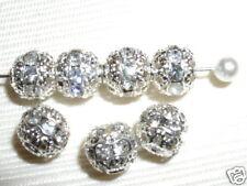12 8mm Swarovski Rhinestone Beads Silver/Crystal  RH801