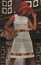 Crochet Pattern Lady's Summer Dress/Tunic. Flower Motif Detail.