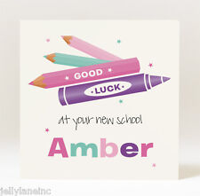 Handmade Personalised Good Luck At Your New School  Card - Girl