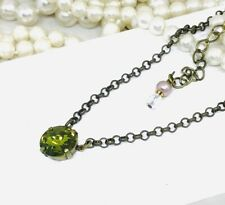 Olive Green Necklace Swarovski Crystals Used Olive Green Cup Chain Pendant