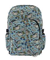 UNICORN Blue Rainbow Cool Backpack Rucksack School College Goth Emo Skull Bag