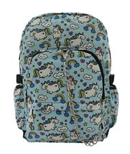UNICORN Blue Rainbow Cool Backpack Rucksack School College Goth Emo Skull Bag