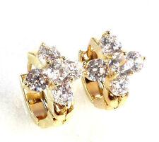 Women Girl Cubic Zirconia CZ Crystal 14K Yellow Gold Plated Hoop Cross Earrings