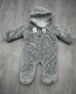 BABY BOYS AGE 3-6 MONTHS SNOWSUIT WINTER COAT GREY FLUFFY FAUX FUR PRAM SUIT