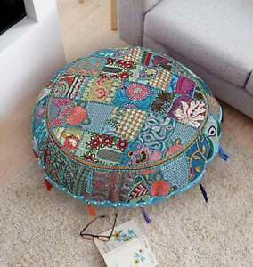 Pouffe Indian Patch Round Floor Pillow Stool Pouf  Vintage Ethnic Ottoman Cover