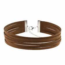 Coffee Brown Faux Suede Cord Multi Layer Choker Necklace 90s Grunge Style