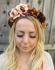 Brown Nude Rose Daisy Flower Garland Headband Hair Crown Floral Festival 1883