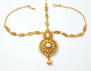 Indian Fashion Bollywood Traditional Gold Plated Mang Tikka Head Jewelry d7