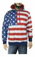 Men's Medium American Flag Patriotic Long Sleeve Pullover Hoodie Front Pocket