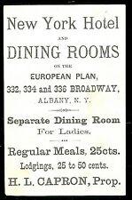 Adv. Trade Card & Menu - New York Hotel & Dining Room, Albany c1880s