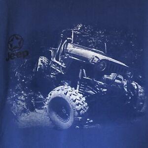Jeep Sweatshirt Hoodie Men's XL Blue Graphic