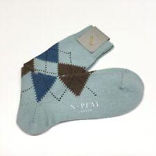 N PEAL Mens Cashmere Argyle Socks UK Size M 7.5 - 9.5 Blue Luxury Hosiery £79