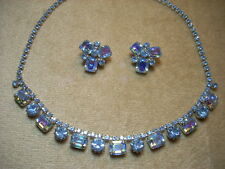 VINTAGE WEISS SIGNED Rhinestone Blue AB Necklace Clip Earring Set LOVELY!