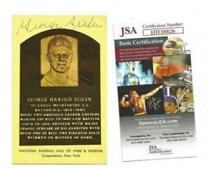 George Sisler Autographed HOF Plaque Postcard St Louis Browns Baseball JSA COA