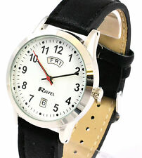 Ravel R0706 Gents Easy Read Watch With Faux Black Leather Strap Inc Day & Date Silver