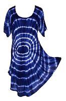 Tie Dye Hippie Tunic Top Dress Boho Beach Kaftan Size 18 20 22 24 26 28 30 MAY19