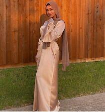 Satin Fashion Long Dress Women Muslim Casual Kaftan Abaya Islam Jilbab Arab Robe