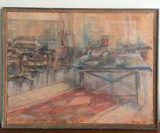 Mid Century Artist Studio Framed Vintage Oil on Canvas