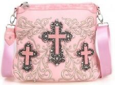Montana West Pink Multi Cross Accented Embroidery  Messenger/Crossbody bag