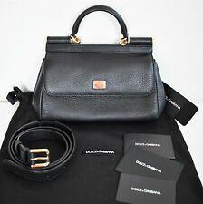 New Authentic DOLCE & GABBANA *SICILY* Black Leather Waist BELT BAG Mini Satchel
