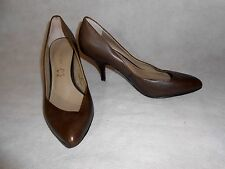 Women Brown Court Shoes Real Leather Slim Fit Autograph Size 4,5