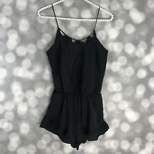 J.O.A Los Angeles Romper Size XS Black Lace Insets Ruffle Trim Strappy Party