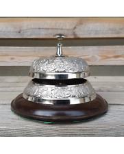 Nickel plated desk bell embossed design 15cm