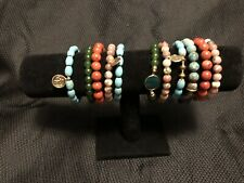 Multicolored Beaded Bracelets Set Of 11 Stretchable With Charms & Bag New
