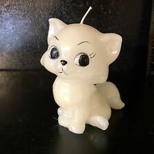 Vintage Kitten Sculpture Candle Never Been Used White Big Eyes MCM