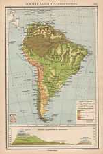1942 MAP ~ SOUTH AMERICA VEGETATION ANDES MOUNTAIN HEIGHTS BOLIVIA BRAZIL PERU