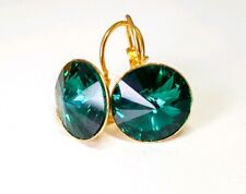 Crystal earrings Drop Earrings Genuine Swarovski element Emerald Green Gold 12mm