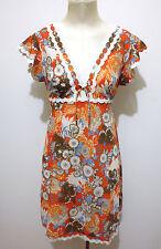 CULT VINTAGE AÑOS 70 Vestido De Mujer Flower Jersey mujer vestido Sz. S - 42