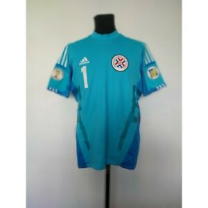 Paraguay goalkeeper soccer jersey Adidas 2013 Size 10 2014 WC Qualifiers patch