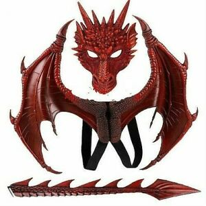 Red Dragon Wings Mask Tail Latex Rubber Halloween Horror Costume Fancy Dress Set