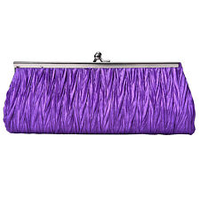 Women Satin Crystal Clutch Party Wedding Purse Soft Evening Bag Bridal Hand  SY